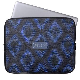 Housse Pour Ordinateur Portable Douille décorée d'un monogramme géométrique bleue