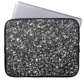 Housse Pour Ordinateur Portable Étincelles noires à la mode de blanc de parties