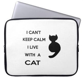 Housse Pour Ordinateur Portable je vis avec un chat
