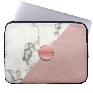 Housse Pour Ordinateur Portable Le Faux 3D rougissent douille de marbre en cuir