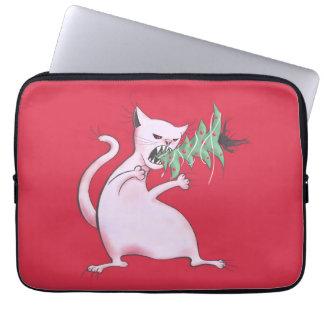 Housse Pour Ordinateur Portable Le gros chat blanc drôle mange l'arbre de Noël