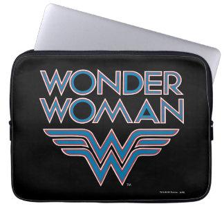 Housse Pour Ordinateur Portable Logo bleu et rouge de femme de merveille rétro