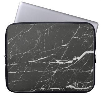 Housse Pour Ordinateur Portable Motif en pierre de marbre gris-clair et noir