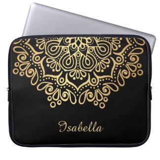 Housse Pour Ordinateur Portable Noir complexe de mandala de dentelle d'or d'or de