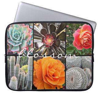 Housse Pour Ordinateur Portable Photo chic de plan rapproché de cactus et de roses