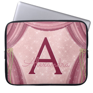 Housse Pour Ordinateur Portable Rougissent nom de monogramme de rideaux en rose et