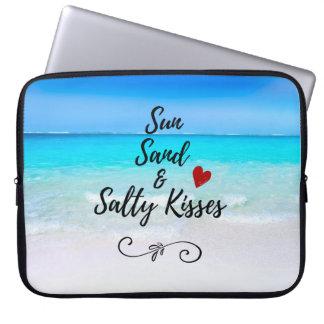 Housse Pour Ordinateur Portable Sable de Sun et plage tropicale de baisers salés