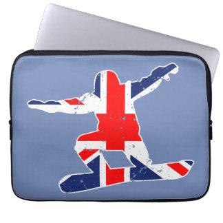 Housse Pour Ordinateur Portable SURFEUR d'Union Jack (blanc)