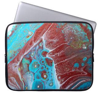Housse Pour Ordinateur Portable Teal et abrégé sur acrylique d'en cuivre