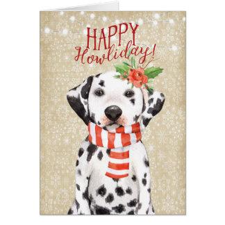 Houx heureux de dalmation de carte de Noël de