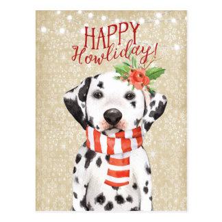 Houx heureux de dalmation de carte postale de Noël