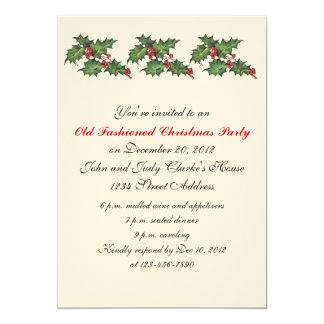 Houx vintage d'invitations de fête de Noël Carton D'invitation 12,7 Cm X 17,78 Cm