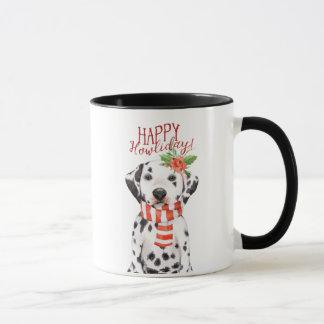 howliday heureux de tasse de Noël de chien de