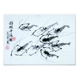 """""""Huit crevettes"""" dans la peinture chinoise d'encre Impression Photo"""