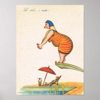 Humeur italienne vintage, grosse dame plongée