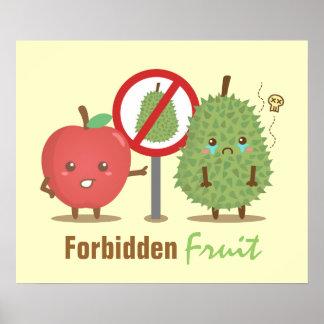 Humoristique, fruit défendu, Apple et durian Poster