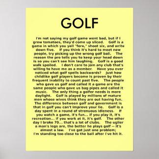 Humour drôle d'affiche de golf