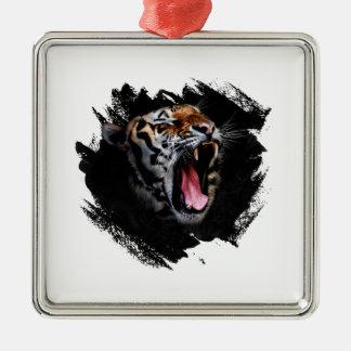 Hurlement de tigre ornement carré argenté