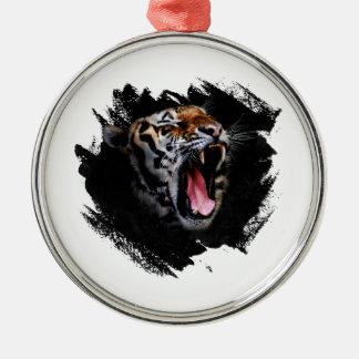 Hurlement de tigre ornement rond argenté