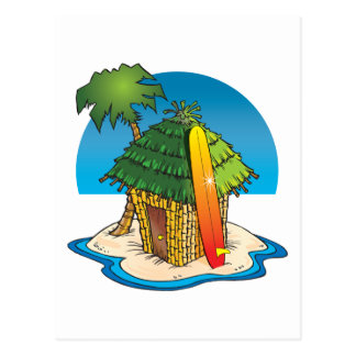 Hutte de Tiki de bande dessinée avec la planche de Carte Postale