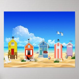 Huttes tropicales de sable de plage