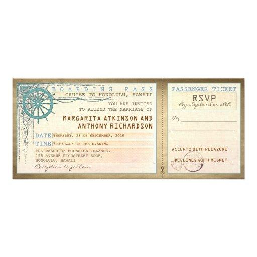 huwelijk die pas-vintage kaartjes met RSVP Aankondiging