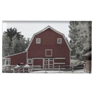 huwelijk van de het rustieke boerderij het rode tafelkaart houder