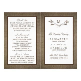 Huwelijk van de Tak & van de Jute van het Monogram Flyer 21,6 X 27,9 Cm