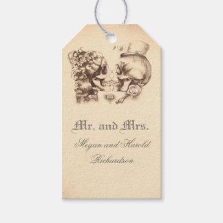 Huwelijk van het Paar van de schedel het Vintage Cadeaulabel