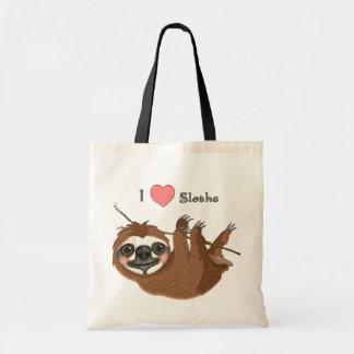 I animaux de bébé de paresses de coeur sac en toile budget