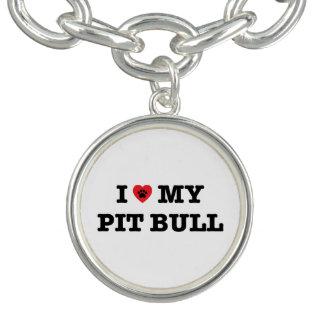 I coeur mon bracelet de charme de pitbull