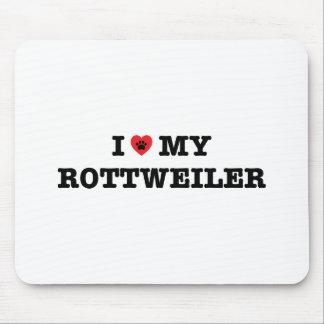 I coeur mon tapis de souris de rottweiler