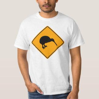 Icône de kiwi de la Nouvelle Zélande avertissant T-shirt
