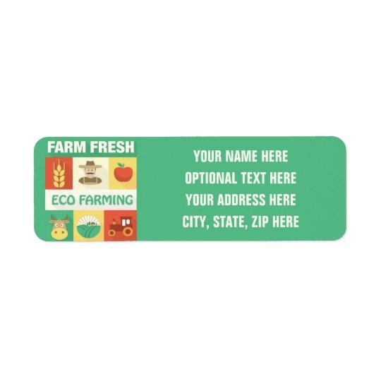 Iconique professionnel d'agriculteur conçu étiquettes d'adresse retour