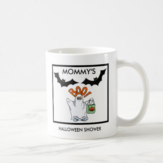 id es de cadeau de baby shower de halloween mug blanc zazzle. Black Bedroom Furniture Sets. Home Design Ideas