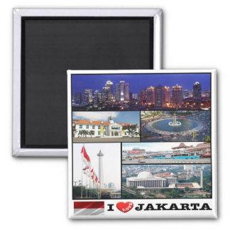 Identification - L'Indonésie - Jakarta - amour d'I Magnet Carré