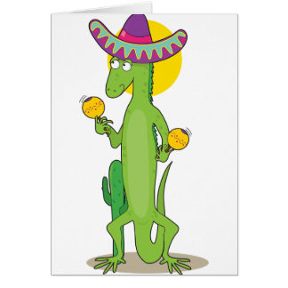 Iguane dans des cartes de note de sombrero