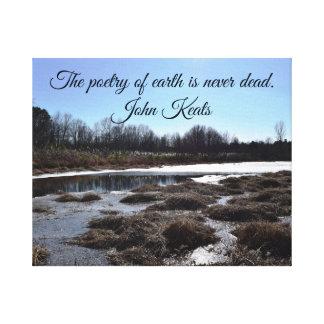 Ijzige Vijver w/Quote door John Keats Canvas Afdrukken