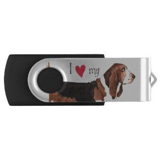 Ik houd van mijn Basset Hound Swivel USB 3.0 Stick