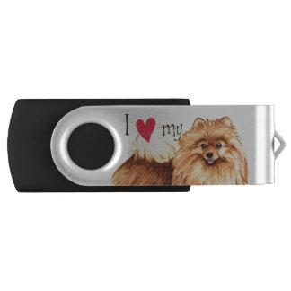 Ik houd van mijn Pomeranian Swivel USB 3.0 Stick