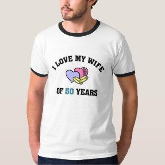 Ik houd van mijn vrouw van 50 jaar t shirt