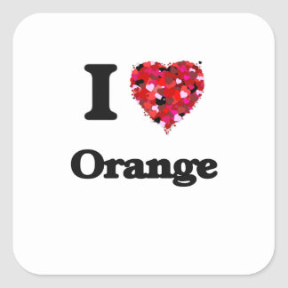 Ik houd van Oranje Californië Vierkante Stickers