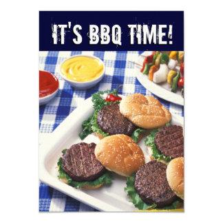 Il est temps de BBQ, barbecue de barbecue d'été Carton D'invitation 11,43 Cm X 15,87 Cm