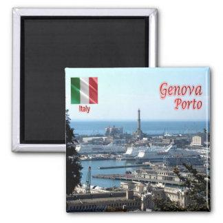 IL - l'Italie - Gênes - port de panorama Magnet Carré