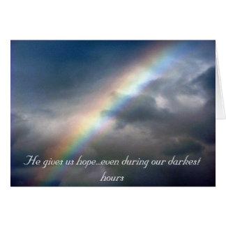 Il nous donne le carte pour notes d'espoir