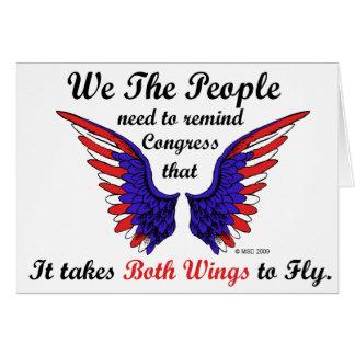 Il prend les deux ailes aux cartes de voeux de