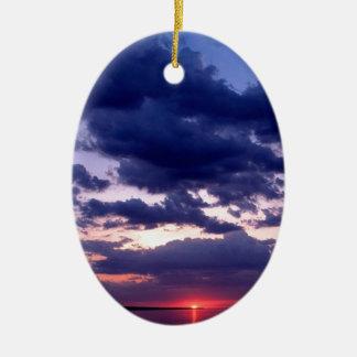 Île grande ambre Michigan de coucher du soleil Ornement Ovale En Céramique