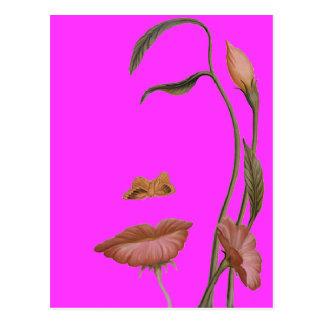 Illusion de fleur de visage carte postale