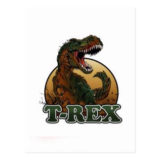 illustration brune et verte de t-rex cartes postales