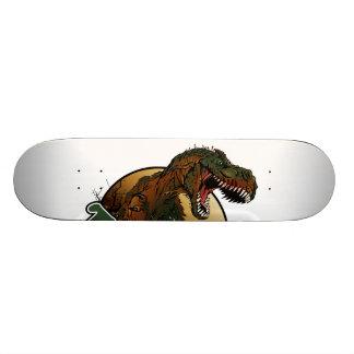 illustration brune et verte de t-rex plateau de skateboard